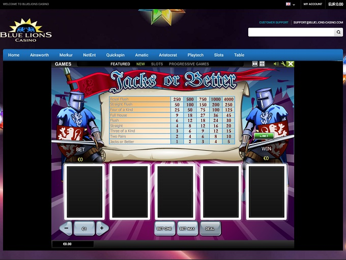 Blue Lions Casino No Deposit