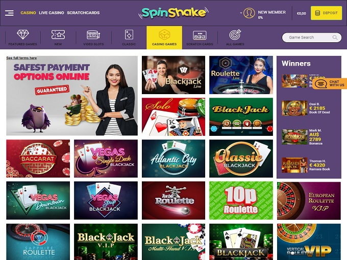 Spinshake Online Casino Review
