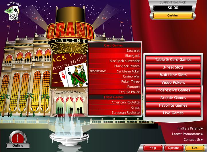 grand online casino bonus