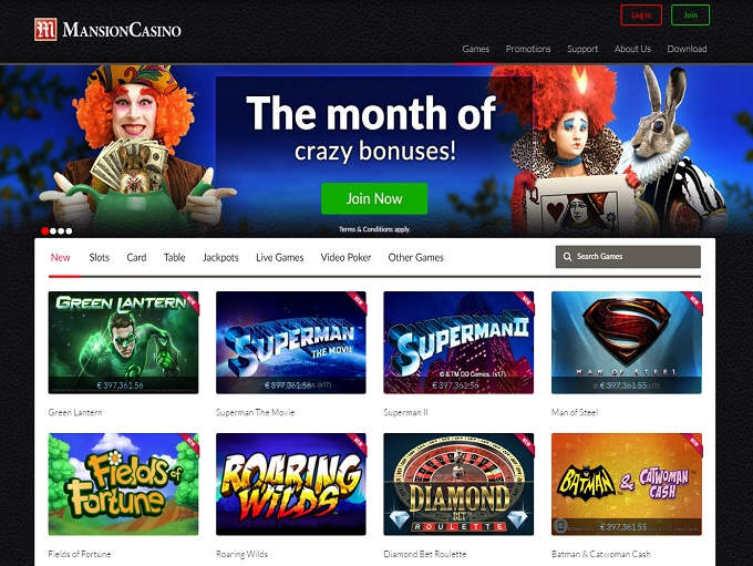 mansion online casino gambling casino games