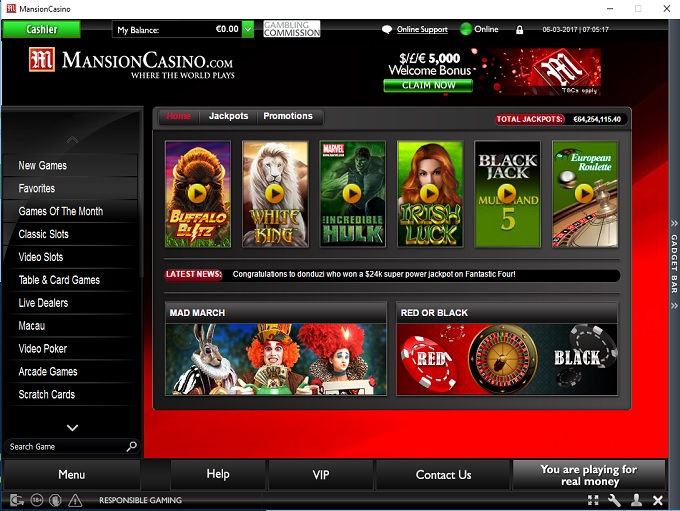 mansion online casino  gewinne