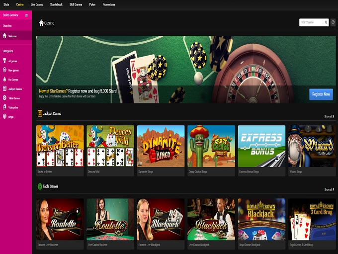 new online casino stars games casino