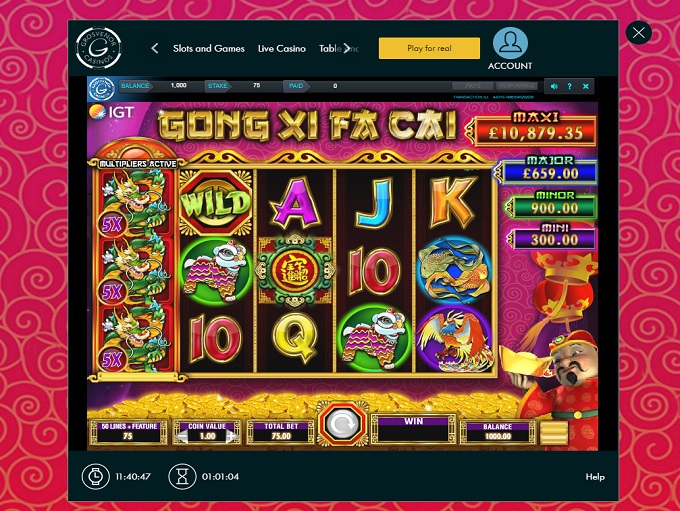 Grosvenor casino free slot games