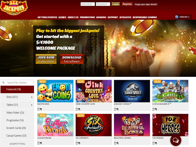 Full Review of All Jackpots Casino - New Bonus Ratings