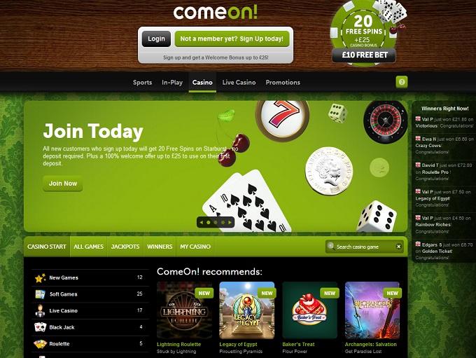 comeon free casino games