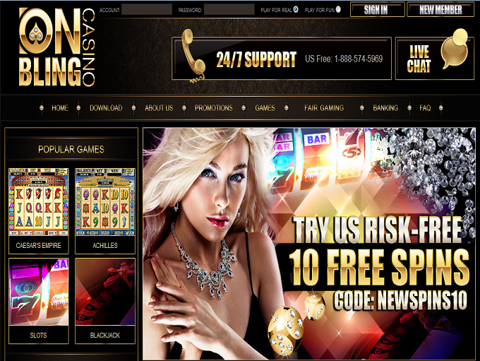 Onbling Casino Home Page