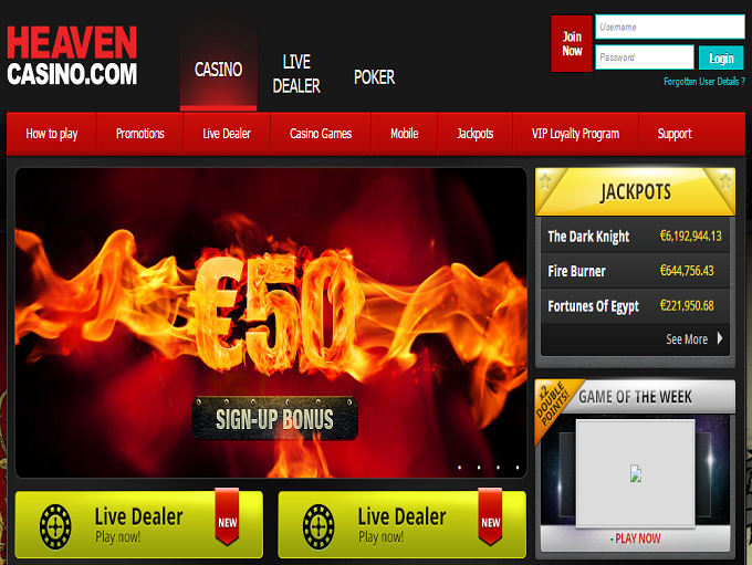 Heaven Casino Home Page