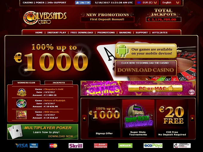 silversands online casino login