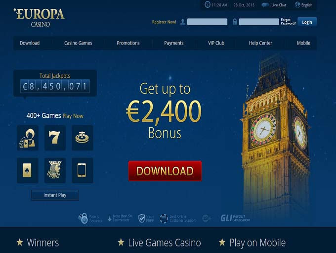 europa casino online support