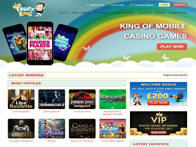fruity king casino login