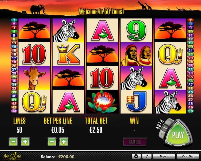 Free online slot machines 50 lions
