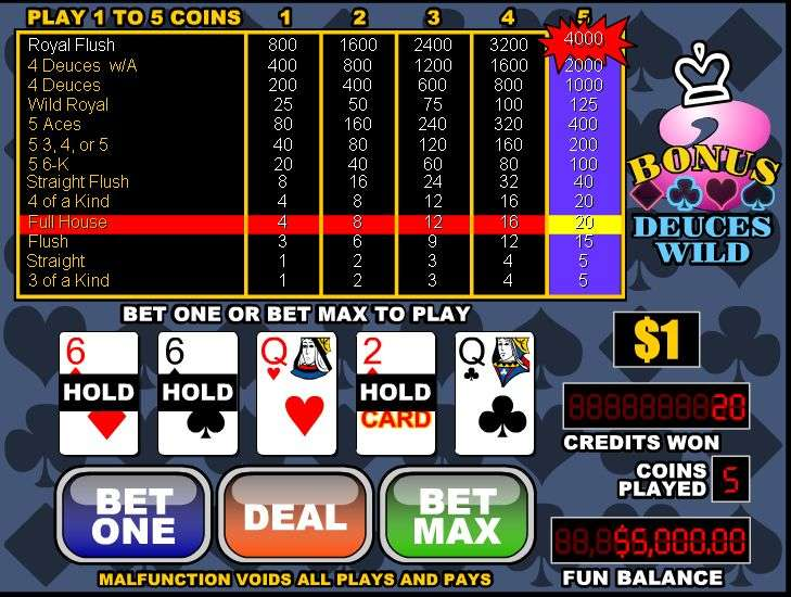 Play 4 Line Deuces Wild Video Poker Online at Casino.com India