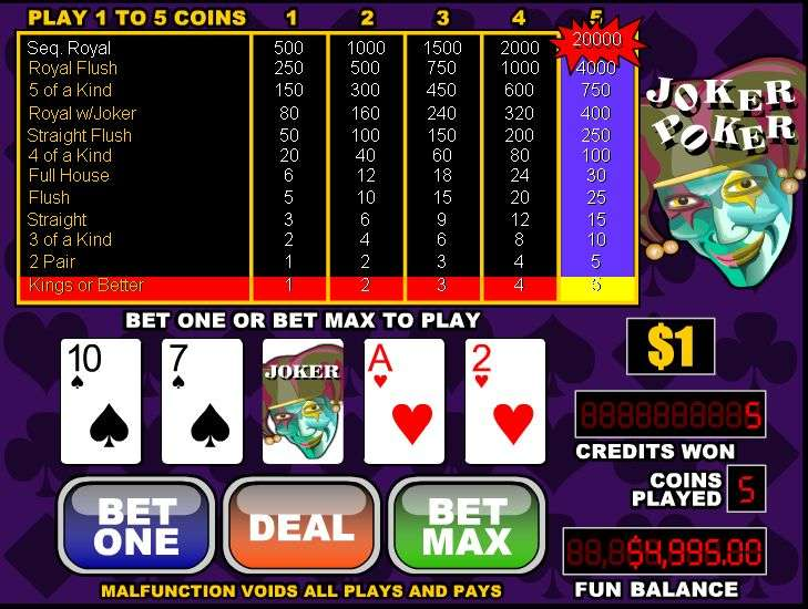 Free 5 Hand Jokers Wild Video Poker and Real Money Casino Play