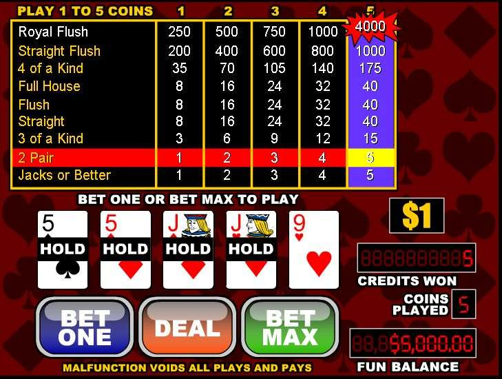 free video poker jacks or better games