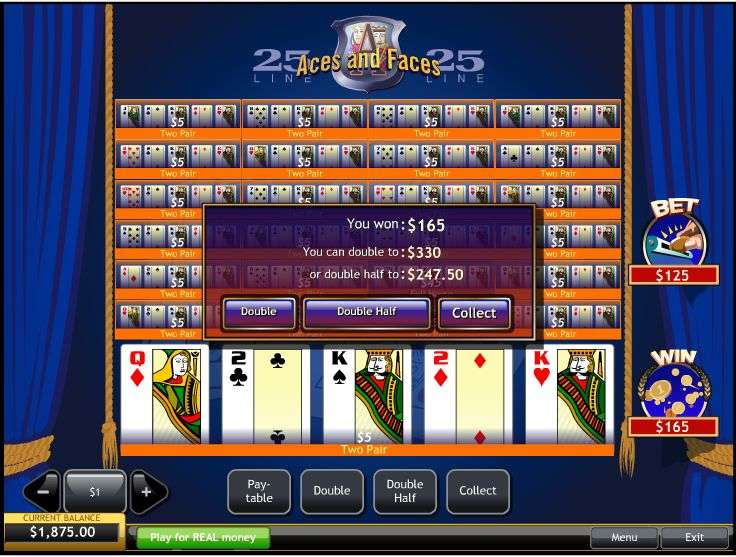 Play 25 Line Aces and Faces Online Video Poker at Casino.com UK