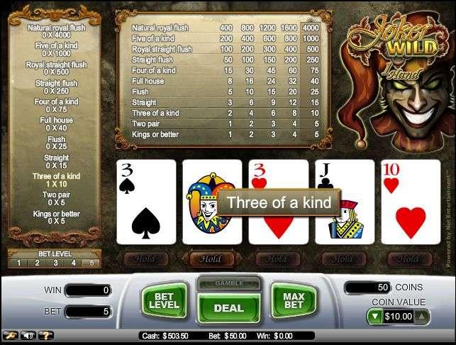 Play Joker Wild Video Poker from NetEntertainment for Free