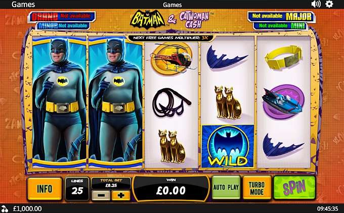 Batman & Catwoman Cash is a 5-reel, line online slot game with a progressive jackpot, bonus round, download, bonus spins, instant play, autoplay, video slots, wild symbol, scatter symbol, mobile gaming, comic books, television shows, crime, superheroes, batman, cats and action themes you can play at 70 online casinos.