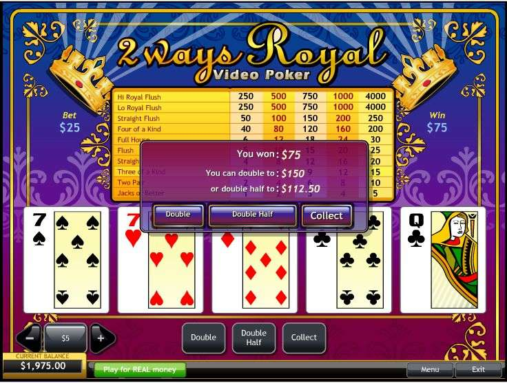 2 Ways Royal Video Poker by Playtech