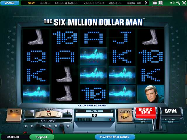The Six Million Dollar Man Slots - Play for Free Now
