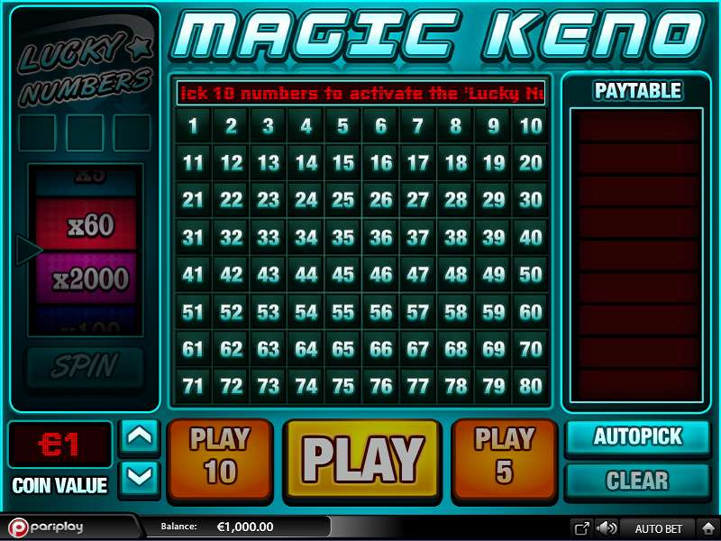 Magic Keno - Play Online or on Mobile Now