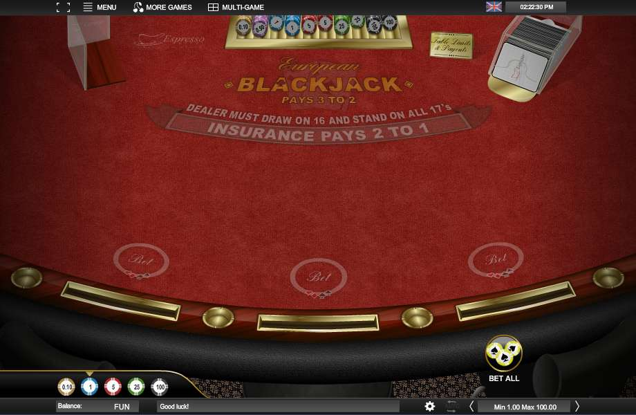European Blackjack Turbo – Play European Blackjack Online