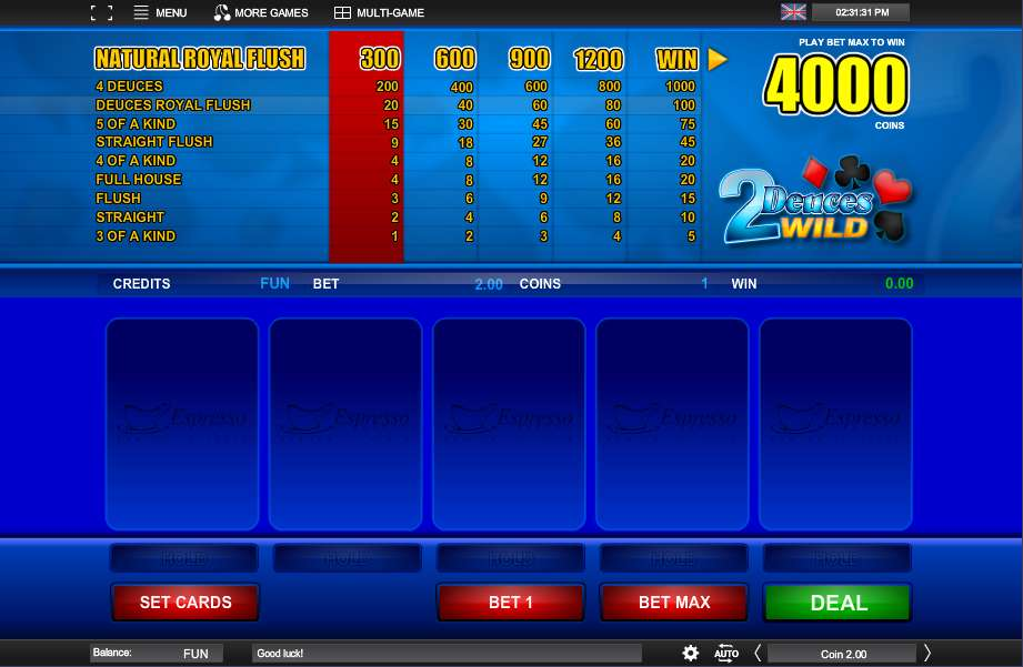 Free Deuces Wild Video Poker and Real Money Casino Play