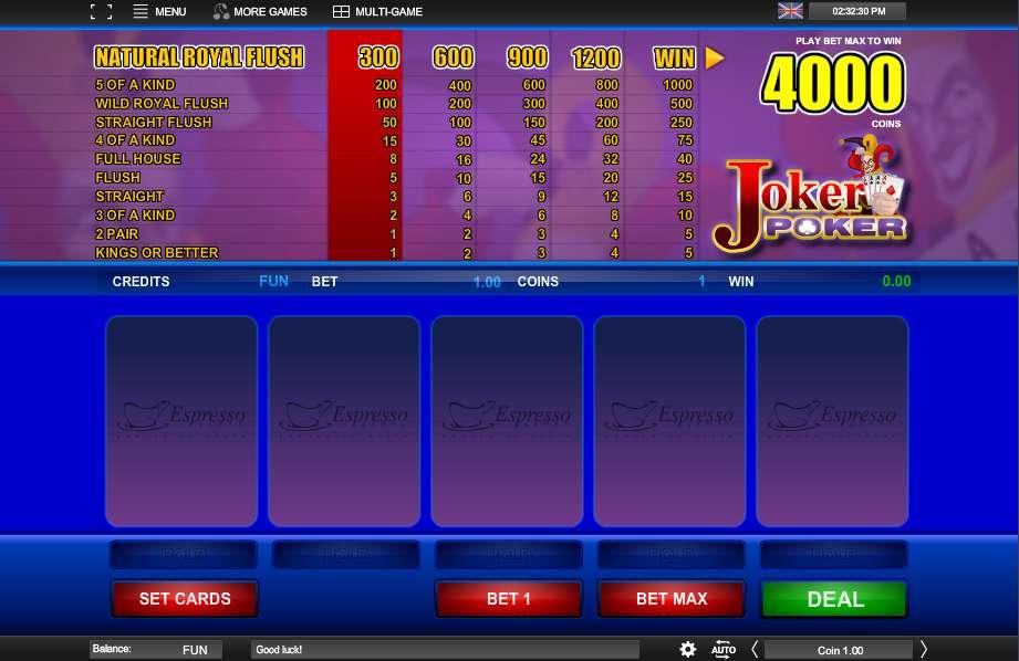 Play Joker Poker Video Poker from Espresso Games for Free