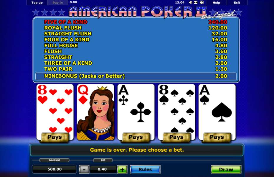 free casino games online slots with bonus american poker ii