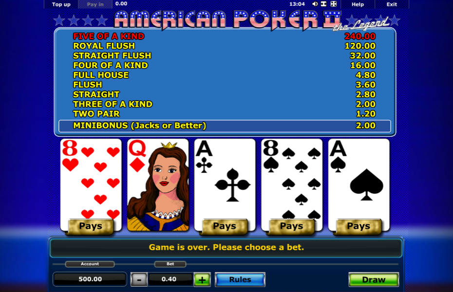 PLAY American Poker 2 FOR REAL MONEY AT: