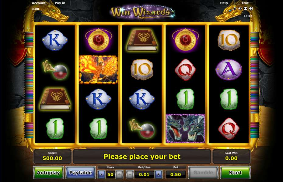free casino play online wizards win