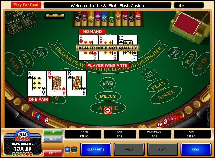 free casino 3 card poker