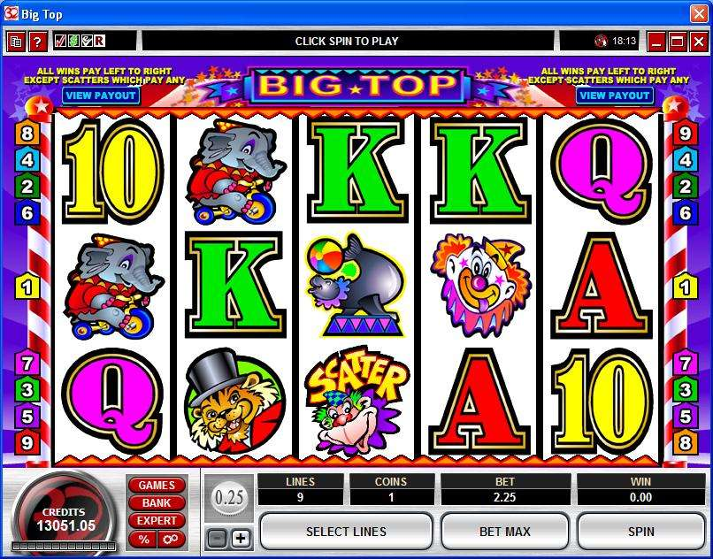 big top casino game