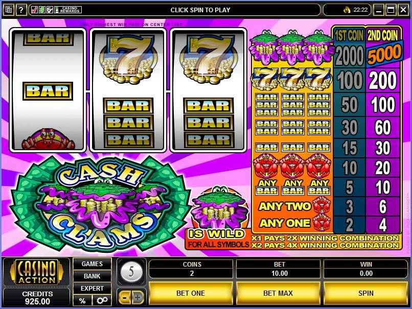 Win cash clams microgaming casino slots jacks wallets game